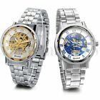 Men Business Roman Numerals Skeleton Mechanical Automatic Wrist Watch Steel Band image