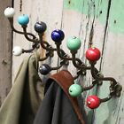 Vintage Style Ceramic & Metal Double Coat Hook Cream Aqua Green Red Blue Black