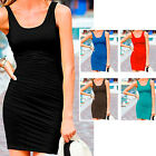 Womens Casual Stretchy Sleeveless Club Party Cocktail Dress Mini Ruched S M L