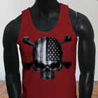 4th of July Independence day USA Flag Skulls Rebel Mens Red Tank Top