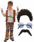 Hippy Hippie Boy Kids 60s 70s Fancy Dress Costume Outfit Afro Wig Tash Shades
