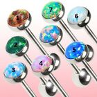 New Surgical Steel Synthetic Opal Stone Tongue Bar Stud 14g Choice of Colour