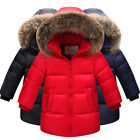 Children'S Girls Quilted Down Puffer Jacket Parka Fur Outwear Outfit Long Coat