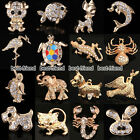 16 Styles Animal Brooch Gold Diamante Children Women Party Gifts Pin Badge Xmas