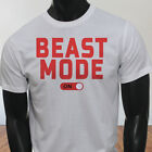 Workout Gym Muscle Lifting Beast Mode ON Mens White T-Shirt