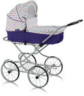 EMILIE JOY DOLLS PRAM STROLLER FRAME WITH WHEELS AND BASKET DURABLE WITH PILLOW