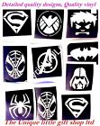 Set of stencils Top up ur glitter tattoo kit-superman,princess,minion,ninja etc