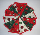 Hand Made 10ft /13 Flag Christmas Fabric Bunting Garland Christmas Baulbles