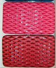 # NEW Fuchsia Red Flat Frame Style Embossed Faux Leather Opera Clutch Wallet nwt