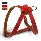New Adjustable Pulling Soft Leather Dog Puppy Cat Kitty Harness Small Breeds