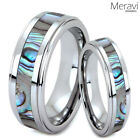 His & Hers Abalone Shell Tungsten Carbide Men's Women's Silver Wedding Band Ring