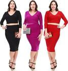 PLUS SIZE CROP TOP SKIRT SET Midriff Pencil Skirt Sexy Dress Stretch 1X 2X 3X