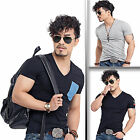 Eskaay Mens Fashion Slim Fit V-Neck Short Sleeves T-Shirts Cotton Casual Shirt