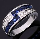 Size 7,8,9 Blue Sapphire Woman's 18K Gold Filled Fashion Halo Wedding Ring Gift