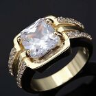 Band Size 8,9,10,11 White Sapphire Man's 18K Gold Filled Wedding Engagement Ring