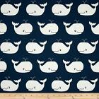 Premier Prints Whale Tales Twill Premier Navy/White Nursery Fabric - by the Yard