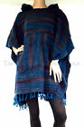 Blue /Red STRIPED Hippy PONCHO Mexican FESTIVAL Bathrobe HOODED One Size PLUS