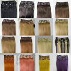 "Lot AAA 20""-26""Clip In Remy Real Human Hair Extensions Straight Any Color 105g"