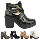 LADIES WOMENS ANKLE BOOT MID BLOCK HEEL GOLD BUCKLES CUT OUT WINTER SHOES SIZE
