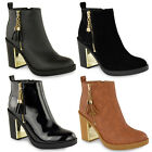 WOMENS LADIES MID HIGH HEEL BLOCK PLATFORM LOW ANKLE CHELSEA BOOTS SHOES SIZE