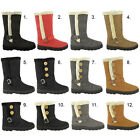 LADIES WOMENS SNOW WINTER FLAT LOW HEEL FUR LINED QUILTED GRIP SOLE BOOTS SIZE