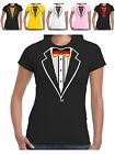 Tuxedo T Shirt German Ladies Deutschland Flag Bow Tie Football Fans Hen Prom Tux