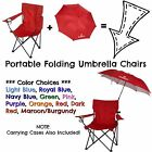 Folding Chair With Umbrella Lawn Camping Beach Patio Outdoor Portable Seat
