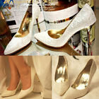 Womens Cocktail Party Lace High Heels Wedding Shoes White Size 3017#