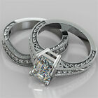 2.25Ct Emerald Cut Engagement Ring & Matching Band Available in 14K White Gold
