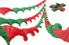 4 VINTAGE RETRO STYLE HAND PLEATED CREPE PAPER CHRISTMAS GARLANDS RED&GREEN MIX