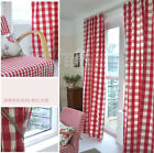 2x Custom Made French Country Provincial Check Red Window Curtain Panel