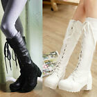 Women Ladies Lace Up Thick Chunky Block Heel Wedge Long Boots Size 8037#