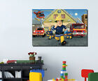 Fireman Sam Stretched Canvas Print Framed Wall Art Kids Nursery Decor Painting