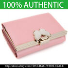 [OMNIA]Crystal Ladies Wallet Genuine Leather Trifold Purse ID Card Coins bag379M