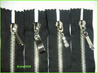 ONE BLACK 5.5 INCHES  ZIP/METAL SILVER TEETH/CLOSED END/ No 5.DECORATIVE PULLERS