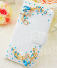 Bling Crystal Diamonds Pearls PU leather flip slots stand wallet case cover #H