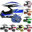 Leopard LEO-X16 Youth Kids Motorbike Motorcycle Motocross MX Helmet + Gloves