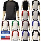 3/4 Sleeve Plain BaseBall T-Shirts Raglan Jersey Vintage Tee Sports Team Jersey