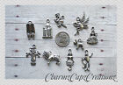 10 pc Silver Wizard of Oz Charm Set Lot Collection / Lion Scarecrow Dorothy / #1