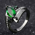 Size 6,7,8,9 Womans Marquise Cut Emerald 18K Gold Filled Fashion Wedding Rings