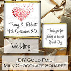 Personalised DIY Wedding Day Milk Chocolate Square Favours Gifts WDLSC32