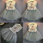 Baby Girls Kid Outfit Vest Top Shirt Tutu Skirt Wedding Pageant Party Dress 2-7Y