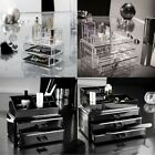 NEW 2/3 TIER ACRYLIC DRAWER MAKEUP ORGANISER COSMETIC CASE JEWELLERY STORAGE BOX