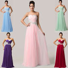 STRAPLESS Long lady Wedding Evening Prom Party Formal Bridesmaid Dress Ball Gown