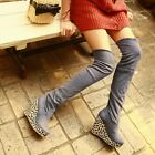 Alluring Faux Suede Cuffed Leopard Platform Wedge Heel Over The Knee Boots