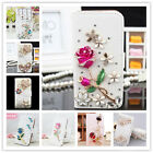 Bling Card Crystal Rhinestone Flip Wallet Leather Case Cover For Samsung Galaxy