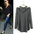 Fashion Women Casual Top Soft Cotton Long Sleeve V Neck Loose T-Shirt Blouse TOP