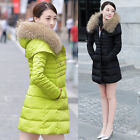 Womens Winter Duck Down Fur Hooded Jacket Thick Warm Parka Coat Overcoat Outware