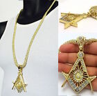 MEN NEW LAB SIMULATED DIAMOND 14KT GOLD FINISH MASONIC PENDENT CHAIN NECKLACE
