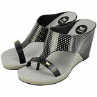 "LADIES DESIGNER ""ZAXY"" GLAMOUR WEDGE SHOES - BLACK - SIZES 35/36 - 41/42 NEW"